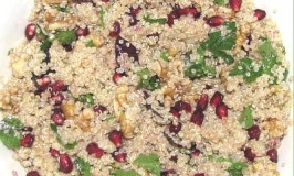 Vegan Organic Quinoa Salad With Pomegranate Seeds & Walnuts