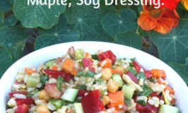 Organic Brown Rice, Almond & Chickpea Salad with Lemon-Maple-Soy Dressing