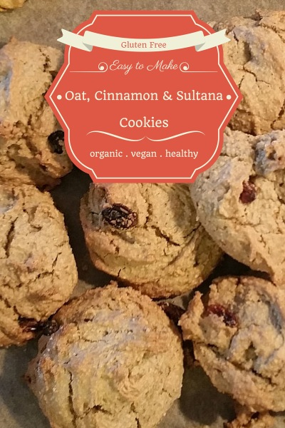 Gluten Free, Vegan, Cinnamon and Sultana Oat Cookies