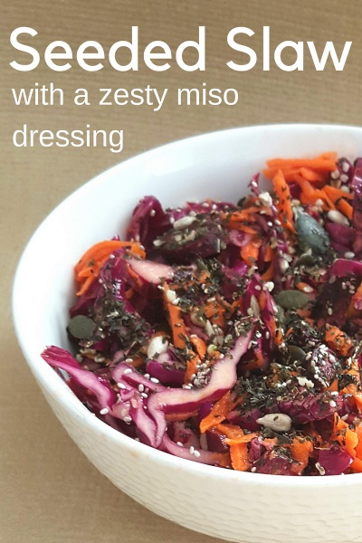 Vegan Seeded Coleslaw with Zesty Miso Dressing