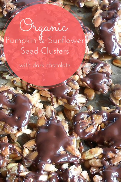 Organic Pumpkin and Sunflower Seed Clusters coated in Dark Chocolate.