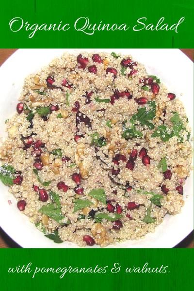 Vegan Organic Quinoa Salad With Pomegranate Seeds and Walnuts