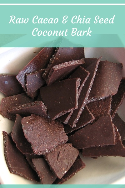 Raw Cacao, Coconut Oil and Chia Seed Coconut Bark Recipe
