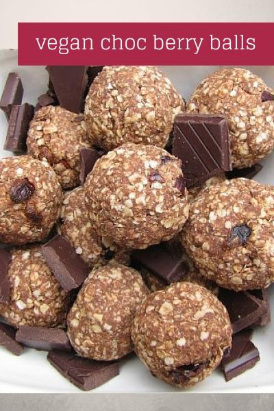 Vegan Oat and Quinoa Chocolate Berry Balls