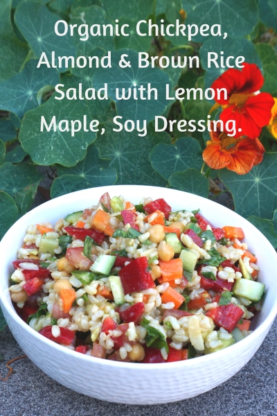 Organic Brown Rice, Almond Chickpea Salad with Lemon-Maple-Soy Dressing
