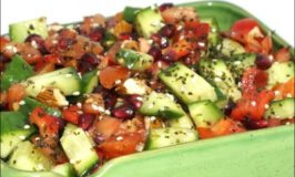 Raw Almond, Cucumber, Tomato, Capsicum & Pomegranate Salad with Seaweed & Sesame Seeds