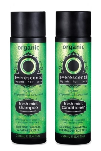 Everescents Organic Fresh Mint Shampoo and Conditioner