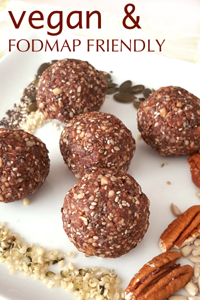FODMAP Friendly Vegan Choc Mint Energy Balls